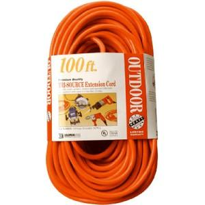Coleman Cable 04219 14/3 SJTW Vinyl Outdoor Extension Cord, Red 3-Outlet, 100-Feet