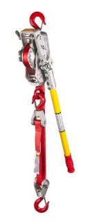 Lug-All Corporation 35-UB 1.5 Ton Web Strap Lightweight Winch Hoist, Gate Type Hooks & Hot Stick Rings