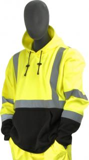 Sweatshirt with hood, high visibility yellow and black, ANSI Class 3, Medium