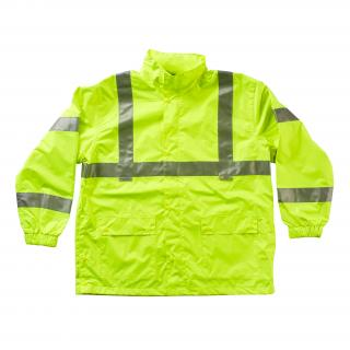 Rain Jacket - Large Hi-Viz Yellow Class 3 Breathable ANSI