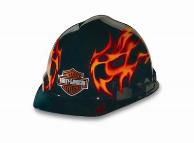 R3 Safety 341529481 Harley Davidson Hard Hat Black W/Flames